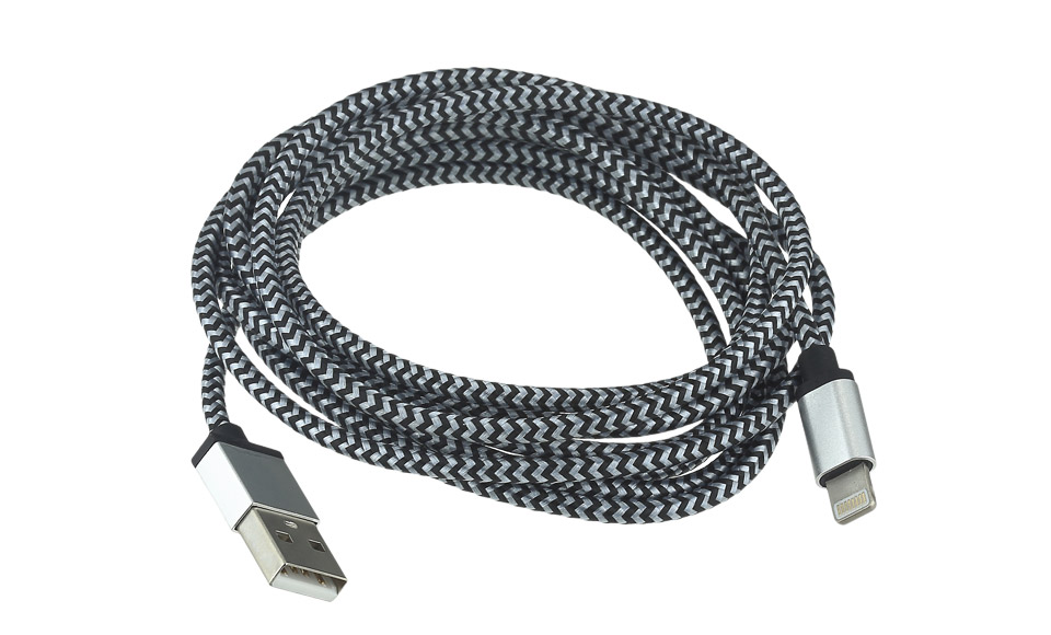Cavo Tessuto METAL: Lightning > USB per Apple iPhone 5 5s 6 6s, 2 metri, BIANCO