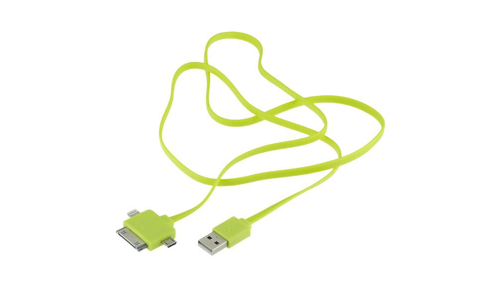 Cavo [USB > Micro-USB + Lightning + Apple 30pin ] 1 metro, Verde
